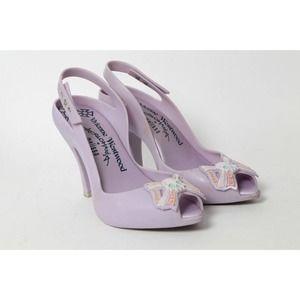 VIVIENNE WESTWOOD Anglomania Melissa Purple Rubber Heels Sandals Size 7 38